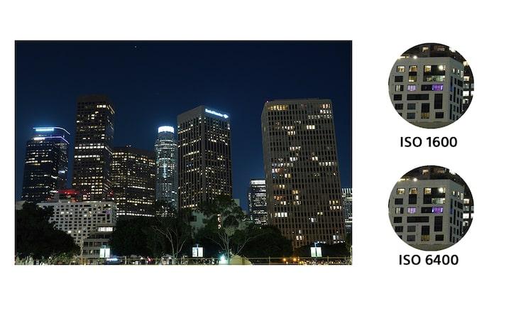 Работни показатели с нисък шум при висока чувствителност ISO